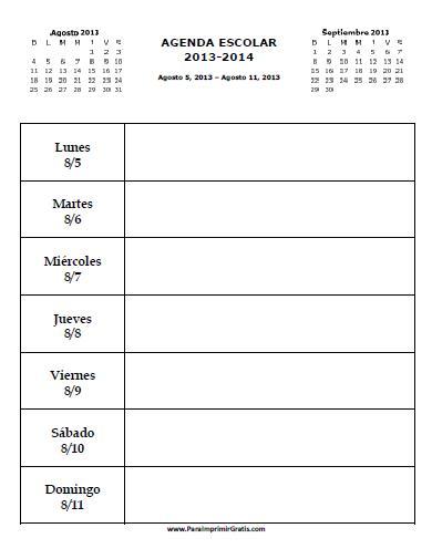 Printable Agenda Calendar 2013