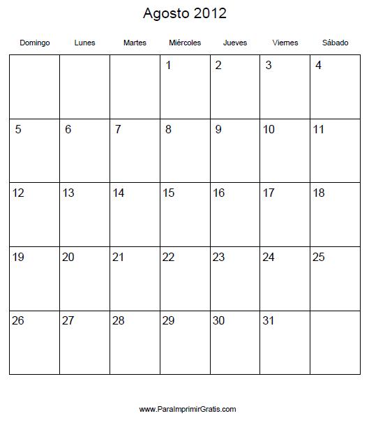 Calendario Agosto 2020 Para Imprimir Gratis.Calendario Agosto 2012 Para Imprimir Gratis