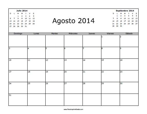 Calendario Agosto 2014 en Blanco - Para Imprimir Gratis ...