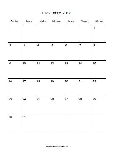 Calendario Diciembre 2018 Para Imprimir.Calendario Diciembre 2018 Para Imprimir Gratis