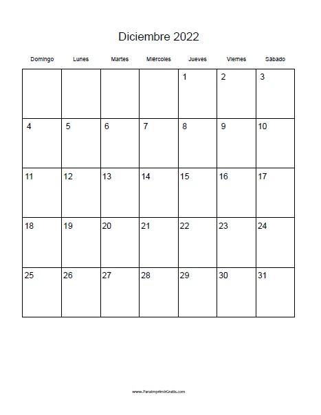 Calendario Diciembre.Calendario Diciembre 2022 Para Imprimir Gratis