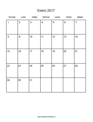 Calendario 2017 para imprimir gratis - Mes de enero 2017 ...