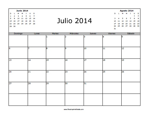 Calendario Mes de Julio 2014 Calendario Julio 2014 en
