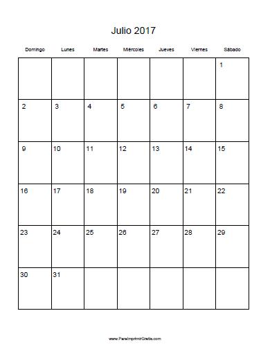 Calendario Julio 2017