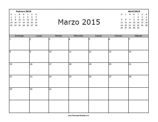 Calendario Marzo 2015 En Blanco Para Imprimir Gratis Pictures