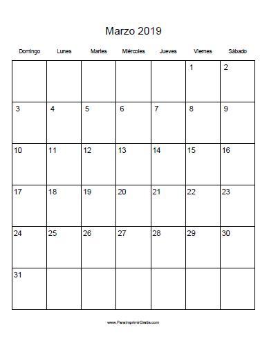 Calendario Dibujo 2019.Calendario De Marzo 2019