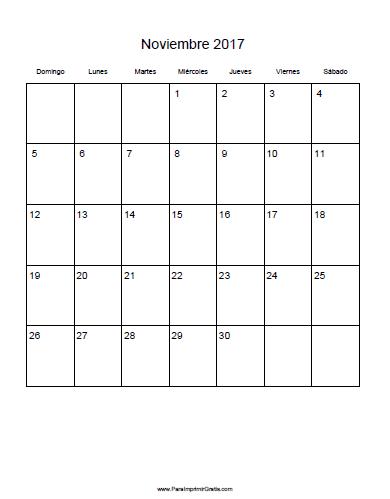 Calendario noviembre 2017 para imprimir gratis - Mes noviembre 2017 ...