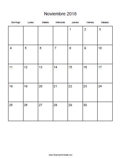 Calendario Noviembre 2018 - Para Imprimir Gratis ...