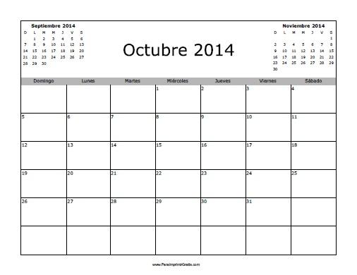 Calendario Octubre 2014 Imprimir Calendario Octubre 2014 en