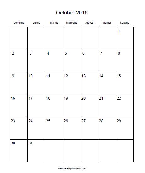 Calendario octubre 2016 el calendario octubre 2016 para for Calendario lunar de octubre 2016