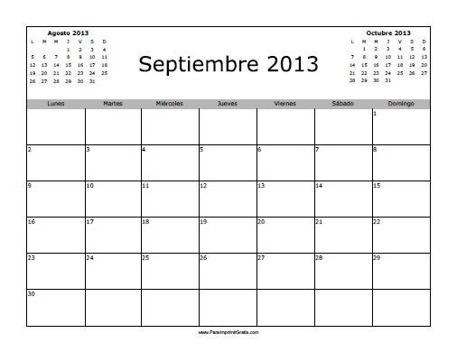 Calendario De Septiembre.Calendario Septiembre 2013 En Blanco Para Imprimir Gratis