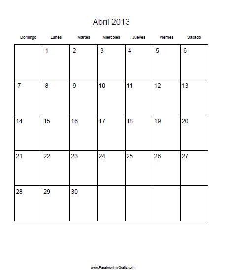 Calendario Abril 2013 Para Imprimir Gratis Paraimprimirgratis Com