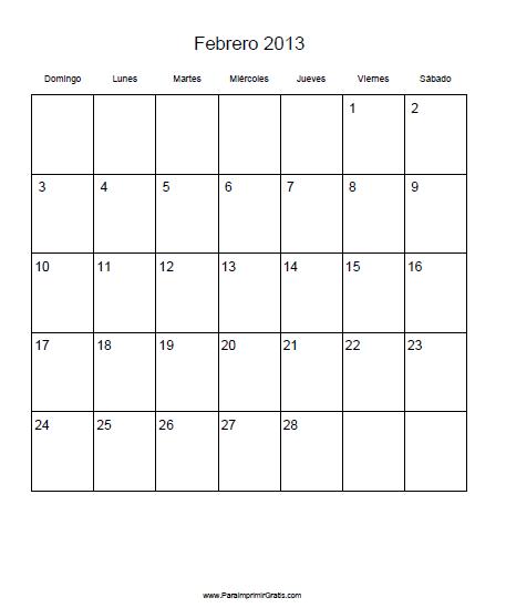 Para Imprimir En Blanco Calendario Febrero 2013 Pdf The | Share The ...