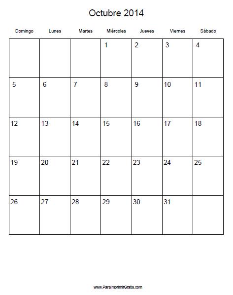 Calendario Octubre 2014 Imprimir Calendario Octubre 2014