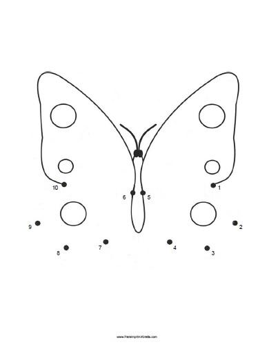 Dibujos para Unir Puntos de Mariposas  Para Imprimir Gratis
