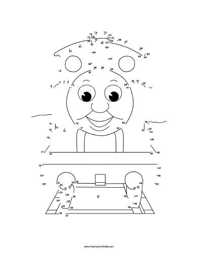 Dibujos para Unir Puntos de Thomas  Para Imprimir Gratis