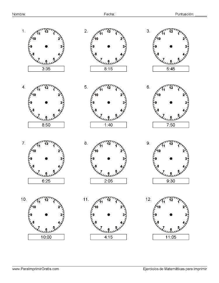 Aprender la Hora - Para Imprimir Gratis - ParaImprimirGratis.com