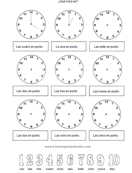 Ejercicios para Aprender la Hora - Para Imprimir Gratis ...