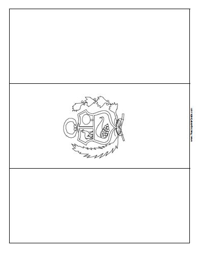 Bandera de Per para Colorear  Para Imprimir Gratis