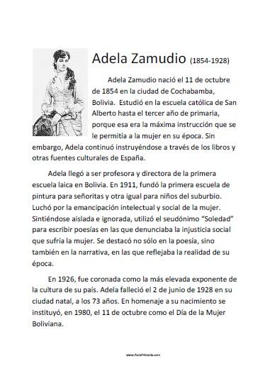 Biografía de Adela Zamudio para imprimir gratis