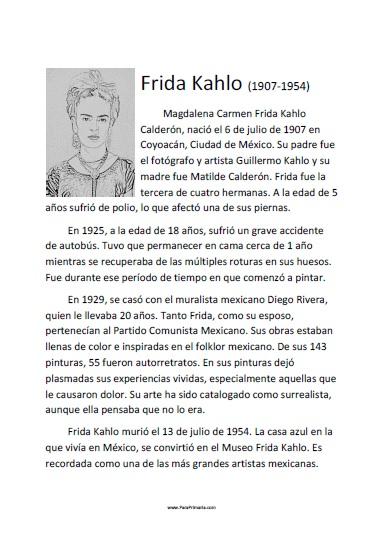 Biografía de Frida Kahlo para imprimir