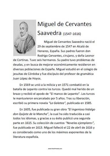 Biografía corta de Miguel de Cervantes para imprimir gratis