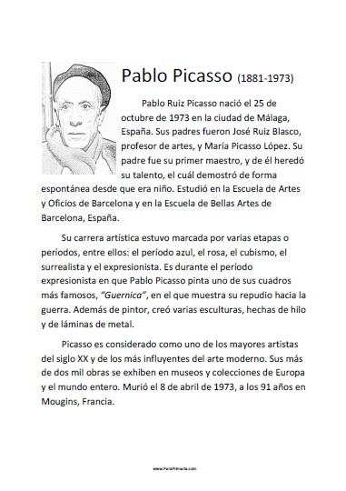 Biografía corta de Pablo Picasso para imprimir gratis