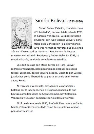 Biografía de Simón Bolívar para imprimir gratis