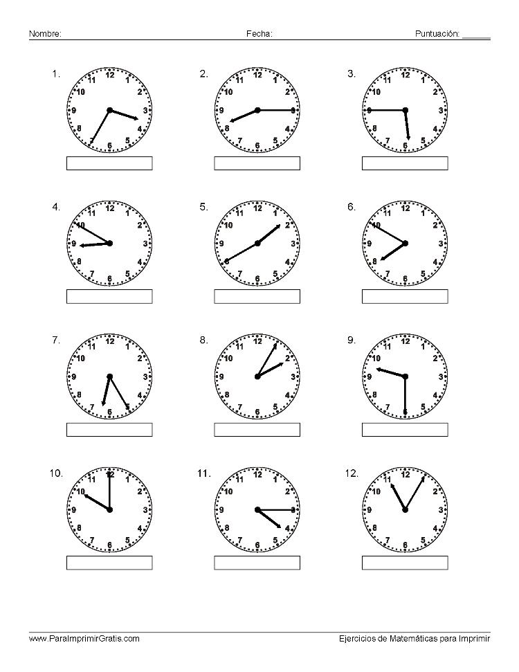Ejercicios de Reloj - Para Imprimir Gratis - ParaImprimirGratis.