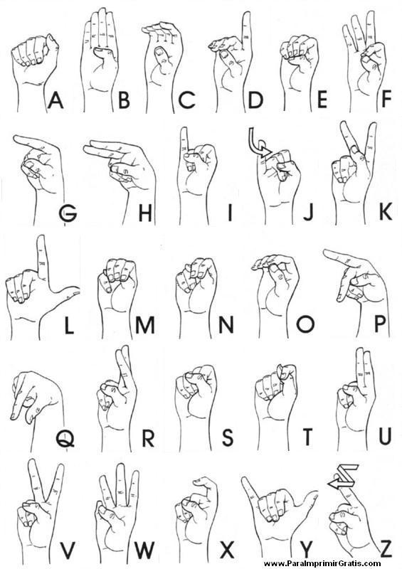 Lenguaje de Señas - Para Imprimir Gratis - ParaImprimirGratis.com
