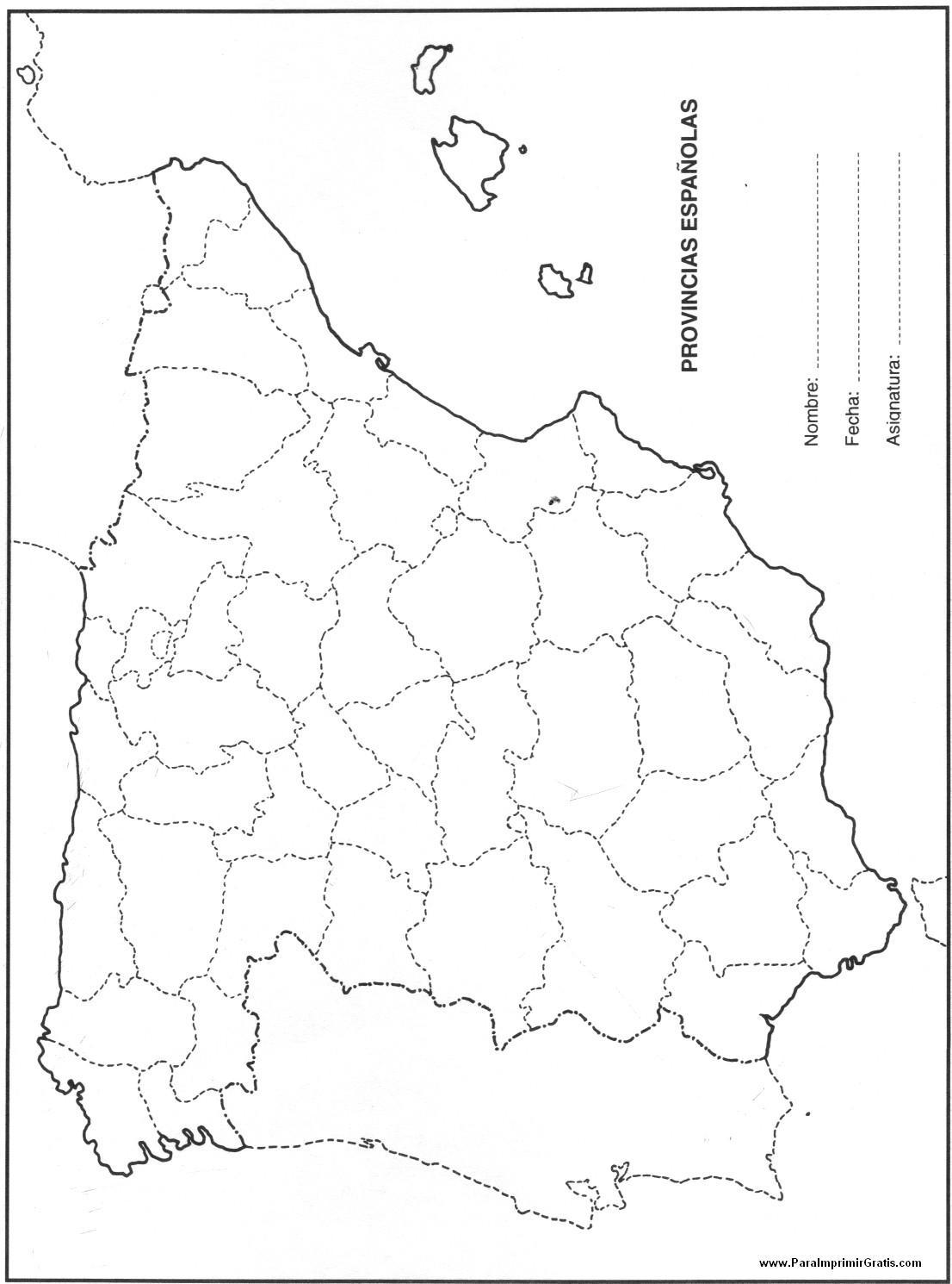 Mapa De España Colorear.Mapa De Provincias De Espana Para Imprimir Gratis