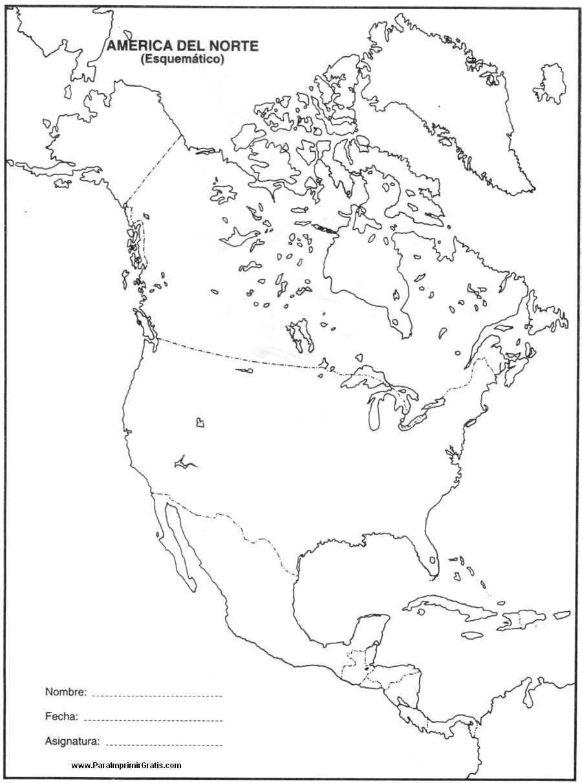 Mapa de América del Norte - Para Imprimir Gratis ...
