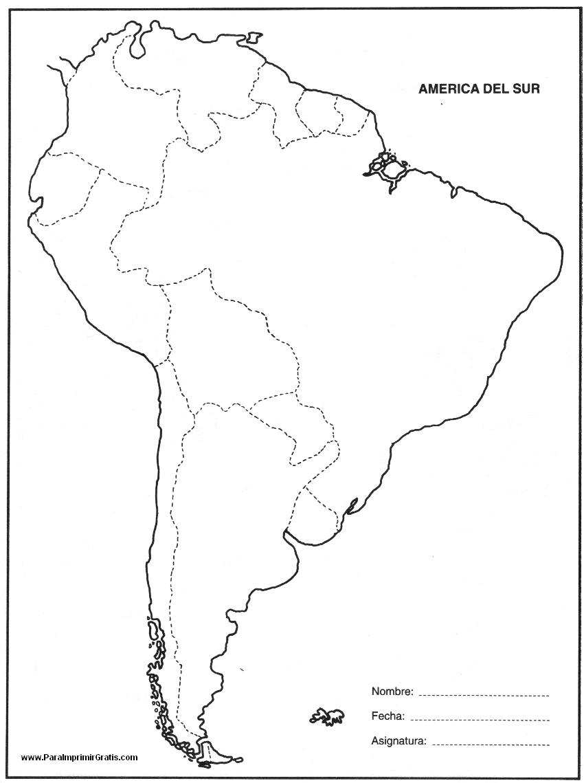 Mapa de América del Sur - Para Imprimir Gratis - ParaImprimirGratis.