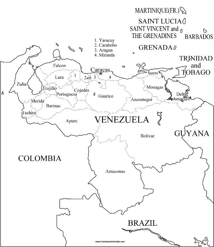 MAPA DE VENEZUELA CON LIMITES PARA COLOREAR - Imagui