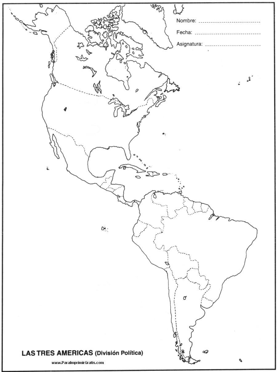 Mapa de las Tres Américas - Para Imprimir Gratis - ParaImprimirGratis.