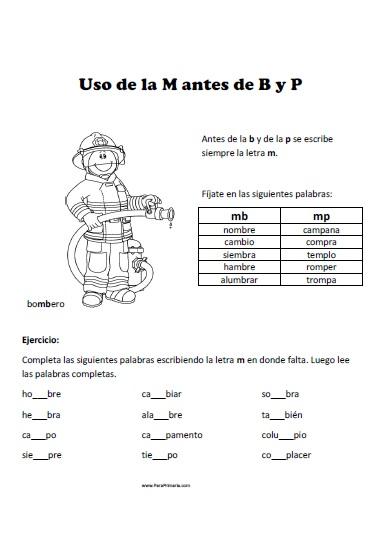 Uso de la M antes de B y P para primaria