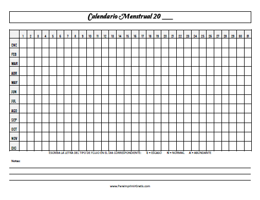 Calendario De Periodo Menstrual.Calendario Menstrual Para Imprimir Gratis