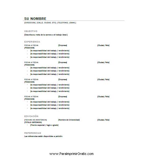 Curriculum Para Imprimir Gratis Paraimprimirgratis Com