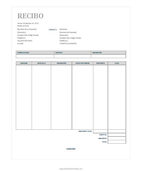formato de recibo para imprimir gratis paraimprimirgratis com