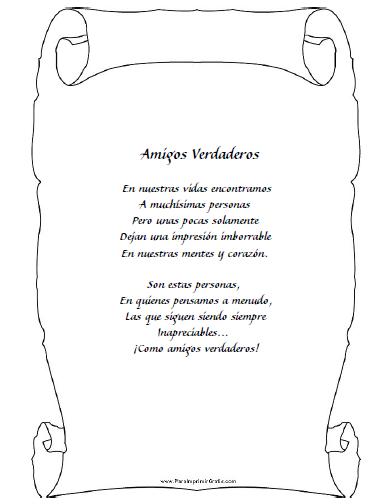 Poemas De Amistad Para Imprimir Gratis