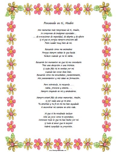 Poemas para Mamá - Para Imprimir Gratis - ParaImprimirGratis.com