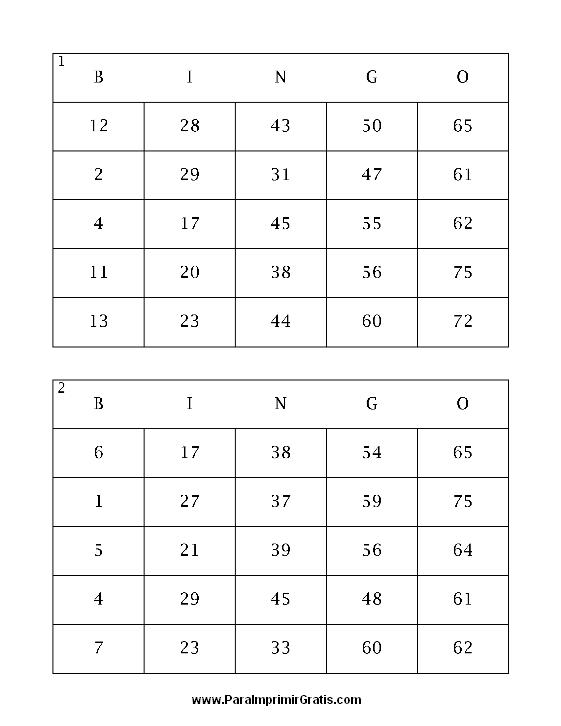Super Cartones de Bingo - Para Imprimir Gratis - ParaImprimirGratis.com PR82