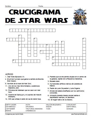 Crucigrama de Star Wars - Para Imprimir Gratis - ParaImprimirGratis.com