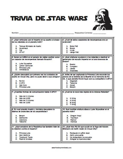 Juego Trivia de Star Wars - Para Imprimir Gratis ...
