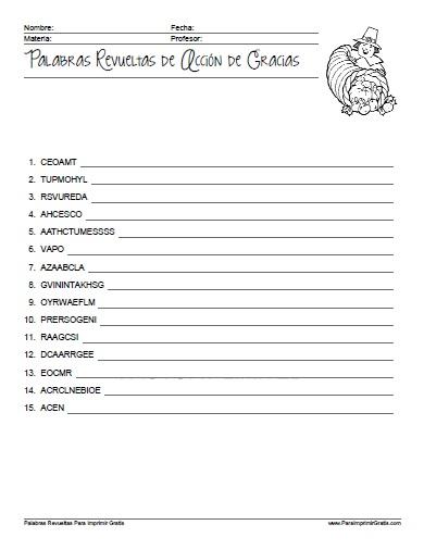Palabras Revueltas De Acci 243 N De Gracias Para Imprimir Gratis Paraimprimirgratis Com