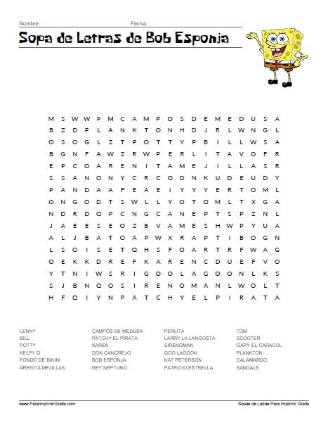 Sopa de Letras de Bob Esponja - Para Imprimir Gratis ...