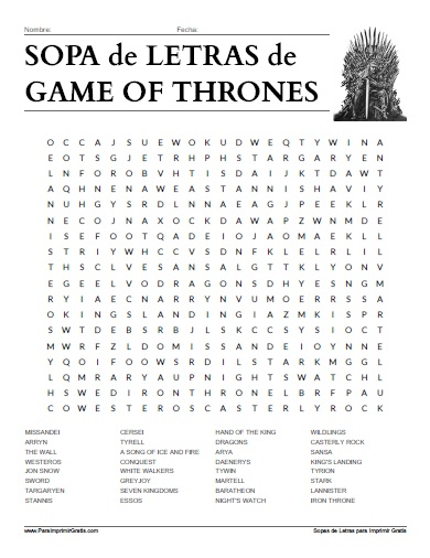 Sopa de Letras de Game of Thrones