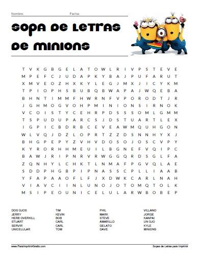 Sopa de Letras de Minions - Para Imprimir Gratis ...