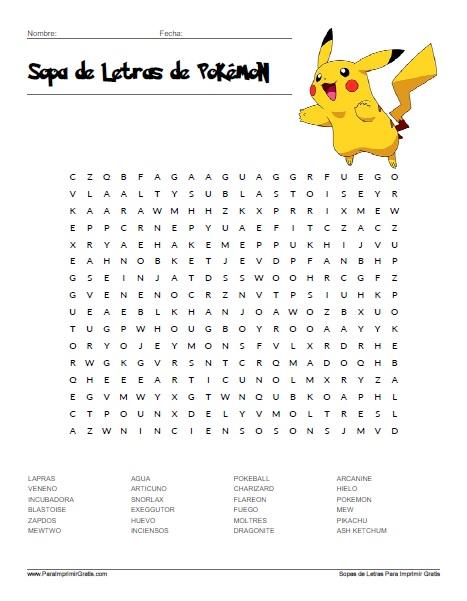 Sopa de Letras de Pokémon - Para Imprimir Gratis ...