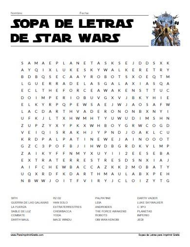 Sopa de Letras de Star Wars - Para Imprimir Gratis ...